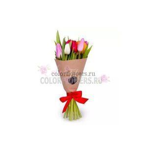 Разноцветые тюльпаны в крафте 15 штук