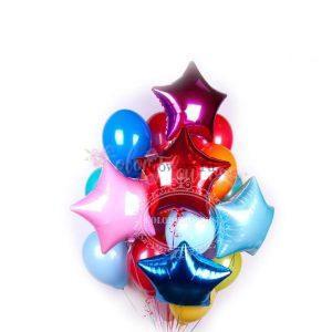 Облако шаров красочных фольгированных и латексных шаров